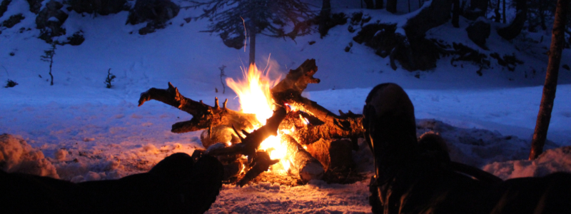 winter camping in the mountains